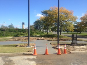 Flag pole moved and pad for pavers poured